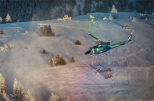 Helicopters active during avalanche training