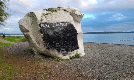 White Rock's namesake spray-painted with Black Lives Matter slogan
