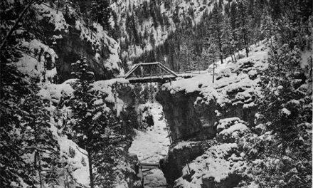 The bridge over snowy Toby Creek