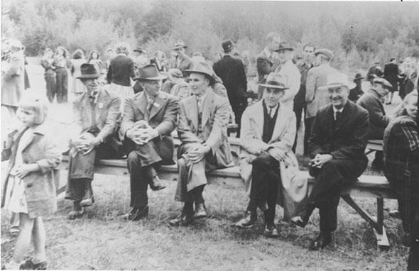 Cross legged on the bench, 1935