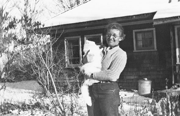 Cozy with a cat, 1948