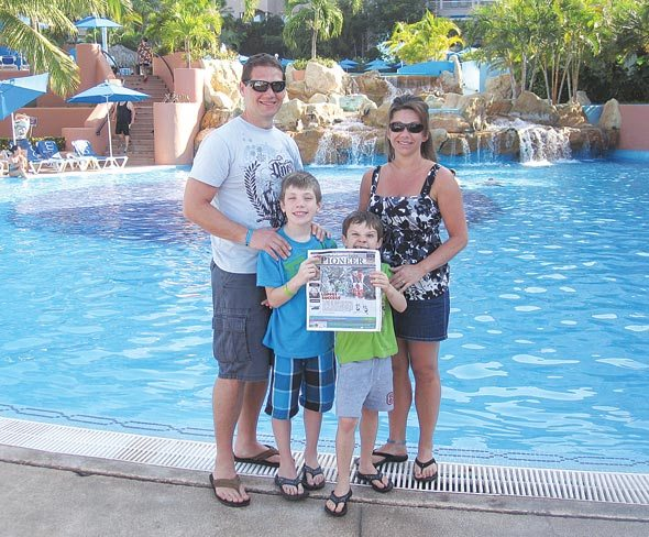 Scott and Tina Brunner, along with sons Kody and Kyle, in Ixtapa, Mexico.
