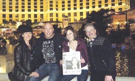 Marilyn and Tim Donaldson, Paulina and Eric Stills in front of the Bellagio Hotel, Las Vegas