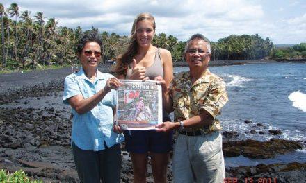 Fely Hidalgo, Svenja Birkelbach (a student from Germany), and Joe Hidalgo in Black Sand National Park on the Big Island, Hawaii