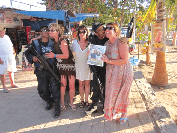 Deb Lloyd, Diane Ruault and Noreen Ruault in Mexico