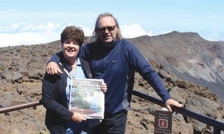 Windermeres Julie and Al Dodds atop Haleakala crater, Maui, Hawaii.
