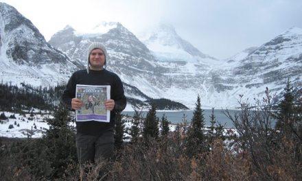 Galen Kazakoff at the base of Mount Assiniboine