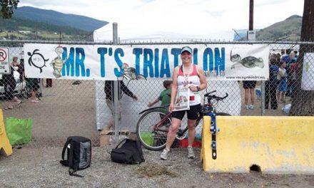 oanne Kersey (Team Crazy Soles) after completing Mr.T TurtleHead Triathlon in Vernon, B.C.
