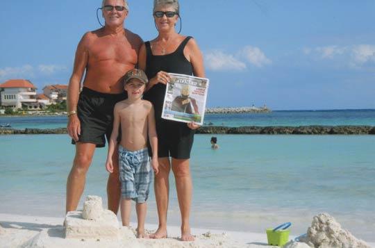 Carolyn and Ray Kolochuk with their grandson, Reuben Kolochuk, in Puerto Aventuras, Mexico