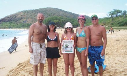 Barry and Michelle Tremblay, Kylie, Joanne and Dale Steedman at McKenna Beach in Maui