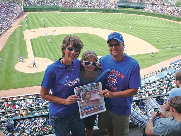 Dale, Joanne and Kylie Steedman at a Cubs game at Wrigley Field in Chicago.