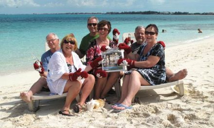 Part-time Radium residents Alan & Tara Pentney, part-time Lakeview Meadows residents Brian & Vinne Stein and Calgary residents Ken and Mina Williamson enjoy a sun-filled vacation in Turks & Caicos