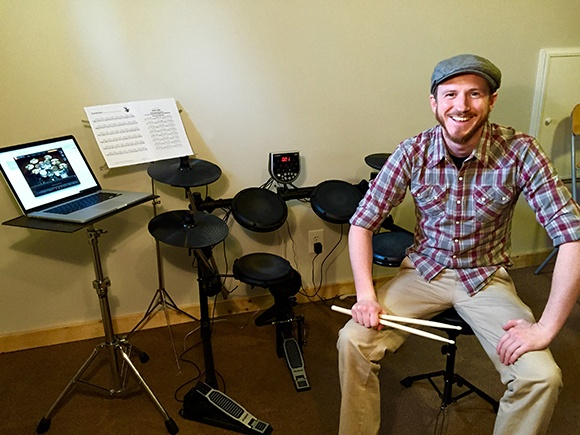 Drummer marches to his own beat