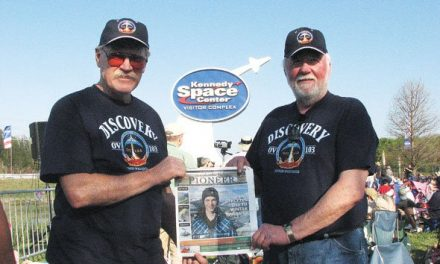 Dennis Alt (right) and David Goldsmith, at the Kennedy Space Center in Florida