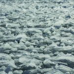 High winds, whitecaps and cold temperatures create crazy tangle of serrated ice in Taynton Bay